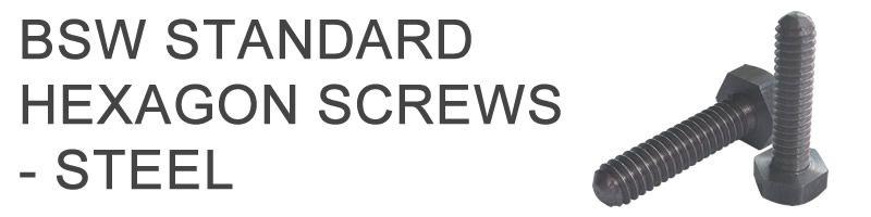 BSW Standard Hexagon Screws - Steel