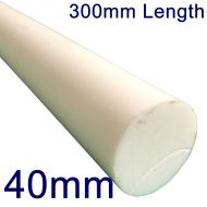 40mm Diameter PTFE Rod (Bar) - 300mm Length
